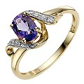 9ct Yellow Gold Amethyst & Cubic Zirconia Ring - Product number 8512302