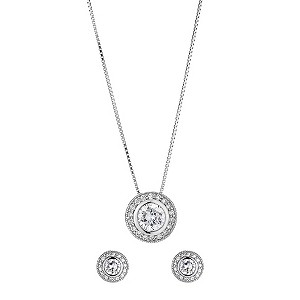 Silver cubic zirconia vintage earring and pendant set - Product number 8513856