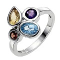 Silver & Platinum Plated Mixed Coloured Stone Ring - Size P - Product number 8514127