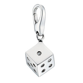Lucky Charms - sterling silver cubic zirconia set dice charm - Product number 8516561