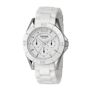 Fossil Ceramic Ladies' Chronograph White Bracelet Watch - Product number 8518114
