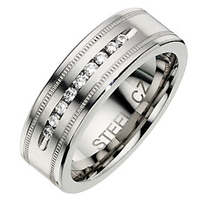 Stainless Steel Men's Cubic Zirconia Ring - Product number 8518580