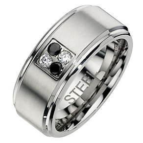Men's Stainless Steel Black & White Cubic Zirconia Ring - Product number 8518726