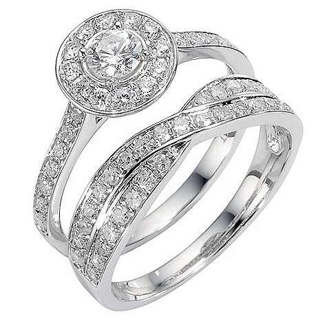 18ct white gold one carat diamond bridal ring set