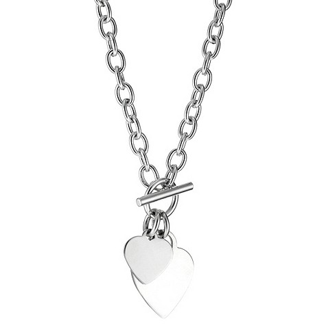 De Montfort sterling silver double heart charm necklace