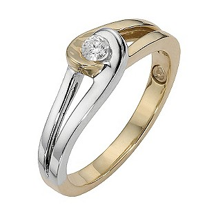 Love's Embrace 9ct gold two colour diamond twist ring - Product number 8523509