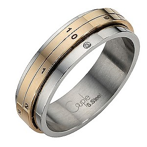 Stainless Steel Two Colour Diamond Ring Small - Q1/2