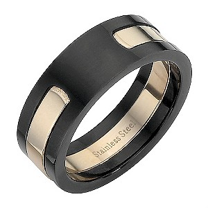 Stainless Steel Black and Pink Ring Medium - U