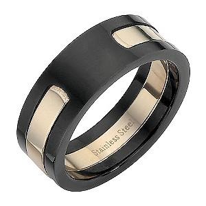 Stainless Steel Black and Pink Ring Medium - U