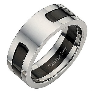 Stainless Steel and Black Centre Ring Large - X1/2
