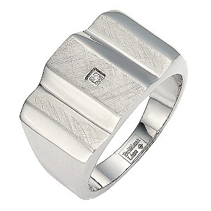 Stainless Steel Scratch Detail Diamond Set Ring Small - Q1/2