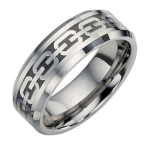 Tungsten and Black Oval Patterned Ring Large - X1/2 - Product number 8524092