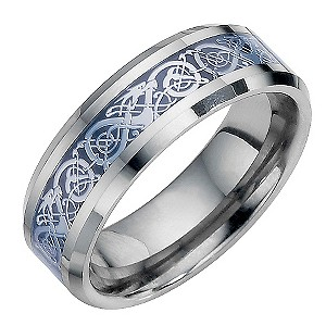 Tungsten and Black Swirl Patterned Ring Small - Q1/2