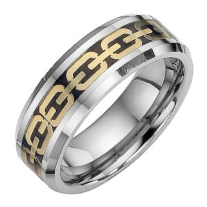 Tungsten and Gold Oval Patterned Ring Medium - U