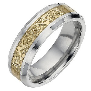 Tungsten and Gold Swirl Patterned Ring Medium - U