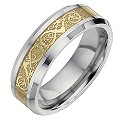 Tungsten and Gold Swirl Patterned Ring Large - X1/2 - Product number 8524467