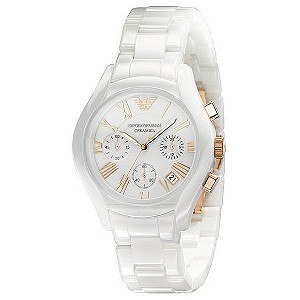 Emporio Armani ladies' white ceramic chronograph - Product number 8525307