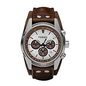 Fossil Men's Chronograph Brown Leather Cuff Watch - Product number 8529868