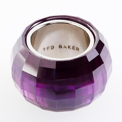 Ted Baker faceted glass purple ring