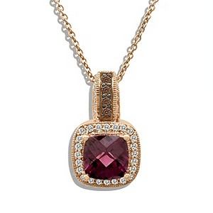 LeVian 14CT Strawberry Gold 0.20CT Diamond Rhodalite Pendant - Product number 8540845