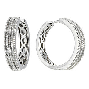 Amanda Wakeley silver diamond vintage hoop earrings - Product number 8541019
