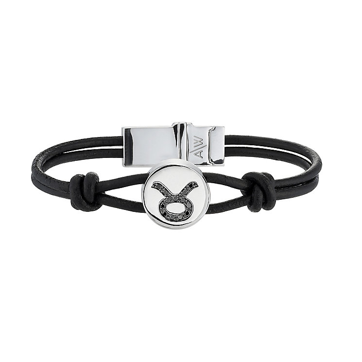 Black Treated Diamond Taurus Leather Bracelet - Product number 8541175