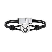 Black Treated Diamond Taurus Leather Bracelet - Product number 8541175