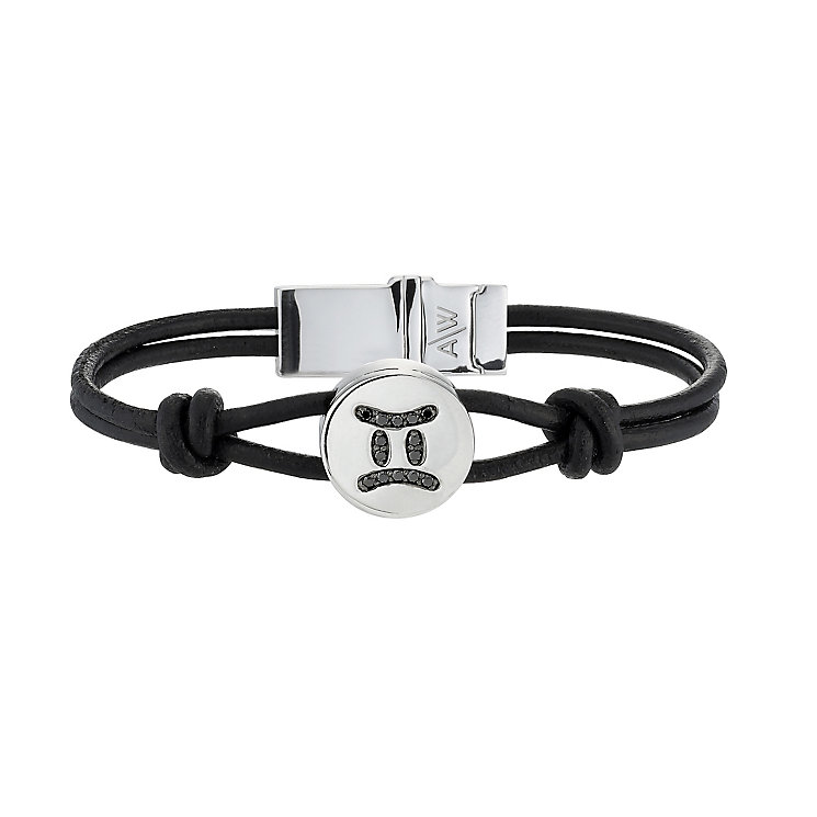 Black Treated Diamond Gemini Leather Bracelet - Product number 8541183
