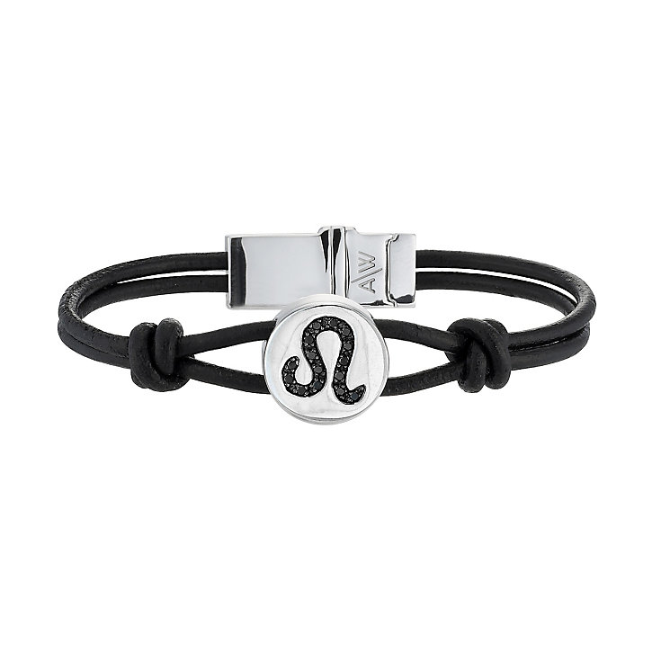 Black Treated Diamond Leo Leather Bracelet - Product number 8541205