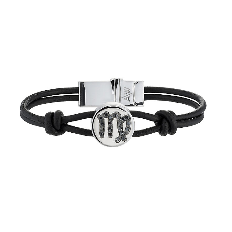 Black Treated Diamond Virgo Leather Bracelet - Product number 8541213