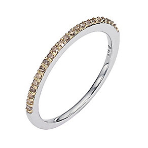 Sterling Silver Brown Diamond Set Ring - Product number 8541566