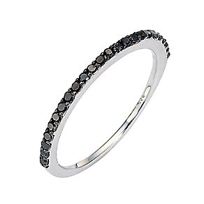 Sterling Silver Black Coloured Diamond Ring - Product number 8541698