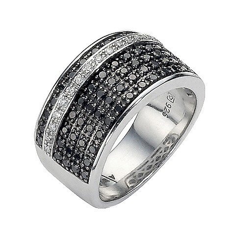 Amanda Wakeley silver white and black coloured diamond ring