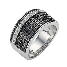 White And Black Coloured Treated Diamond Ring - Product number 8541825