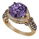 LeVian 14CT Strawberry Gold 0.50CT Diamond & Amethyst Ring - Product number 8542341