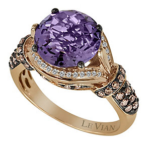Le Vian 14CT Strawberry Gold 0.50CT Diamond & Amethyst Ring - Product number 8542341