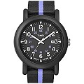 Timex Gent's Black and Blue Stripe Strap Black Dial Watch - Product number 8544247
