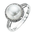 9ct white gold pearl & diamond ring - Product number 8544883
