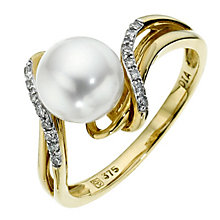 9ct yellow gold pearl & diamond ring - Product number 8545014