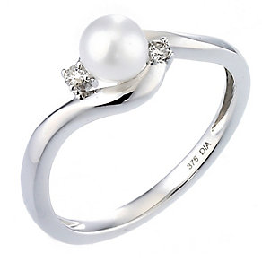 9ct white gold cultured freshwater pearl ring - Product number 8547165