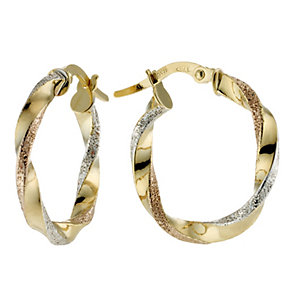 9ct Three Colour Gold Creole Earrings - Product number 8561486