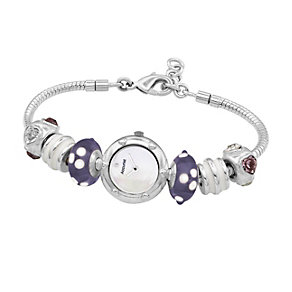 Charmed By Accurist Purple Loaded Heart Charm Watch - Product number 8573727
