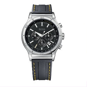 Hugo Boss men's stainless steel and black dial strap watch - Product number 8579873