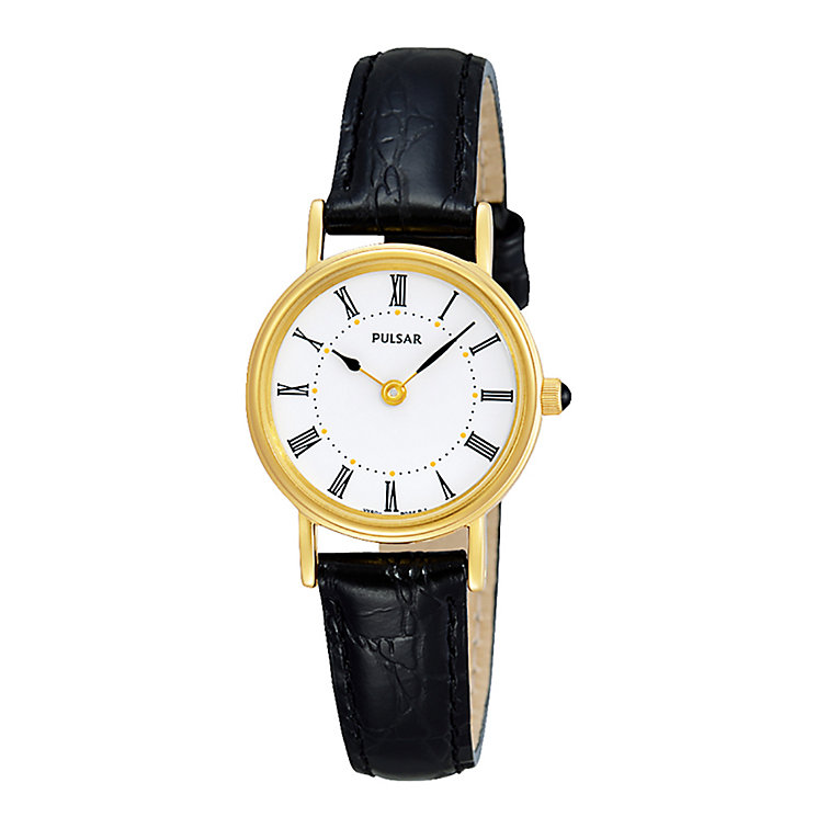 Pulsar Ladies' Gold-Plated Black Strap Watch - Product number 8588414