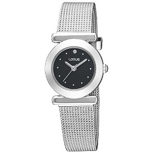 Lorus Ladies' Black Dial Mesh Bracelet Watch - Product number 8588481