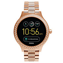 Fossil Q Ladies' Venture Rose Gold Tone Stone Set Smartwatch - Product number 8590567