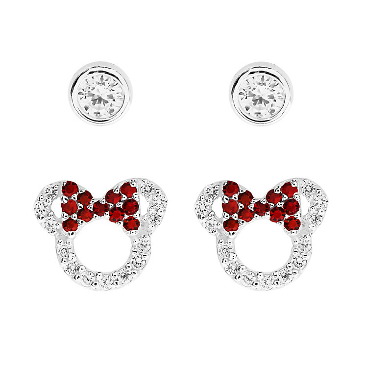 Disney Children's Minnie Mouse Silver & Crystal Earring Set - Product number 8590702