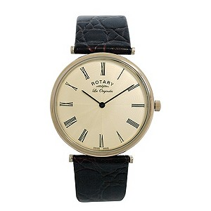 Rotary Men's Gold Plated Dial Black Strap Watch - Product number 8591148