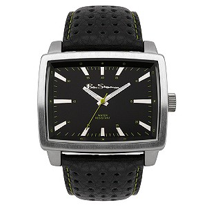 Ben Sherman Black Leather Strap Green Stitch Watch