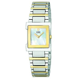 Citizen Eco-Drive Square Dial Two Tone Bracelet Watch